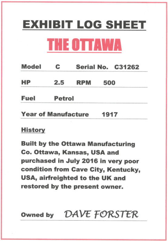 The Ottawa - Exhibit Log Sheet